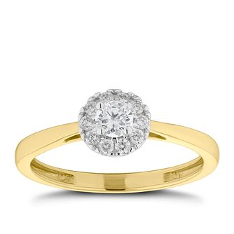 9ct Yellow Gold 1/4ct Diamond Round Halo Ring - Product number 2572672