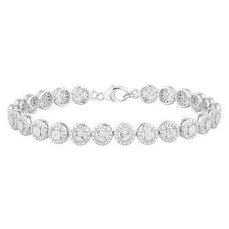 Silver 1/10ct Diamond Round Halo Bracelet - Product number 2575701