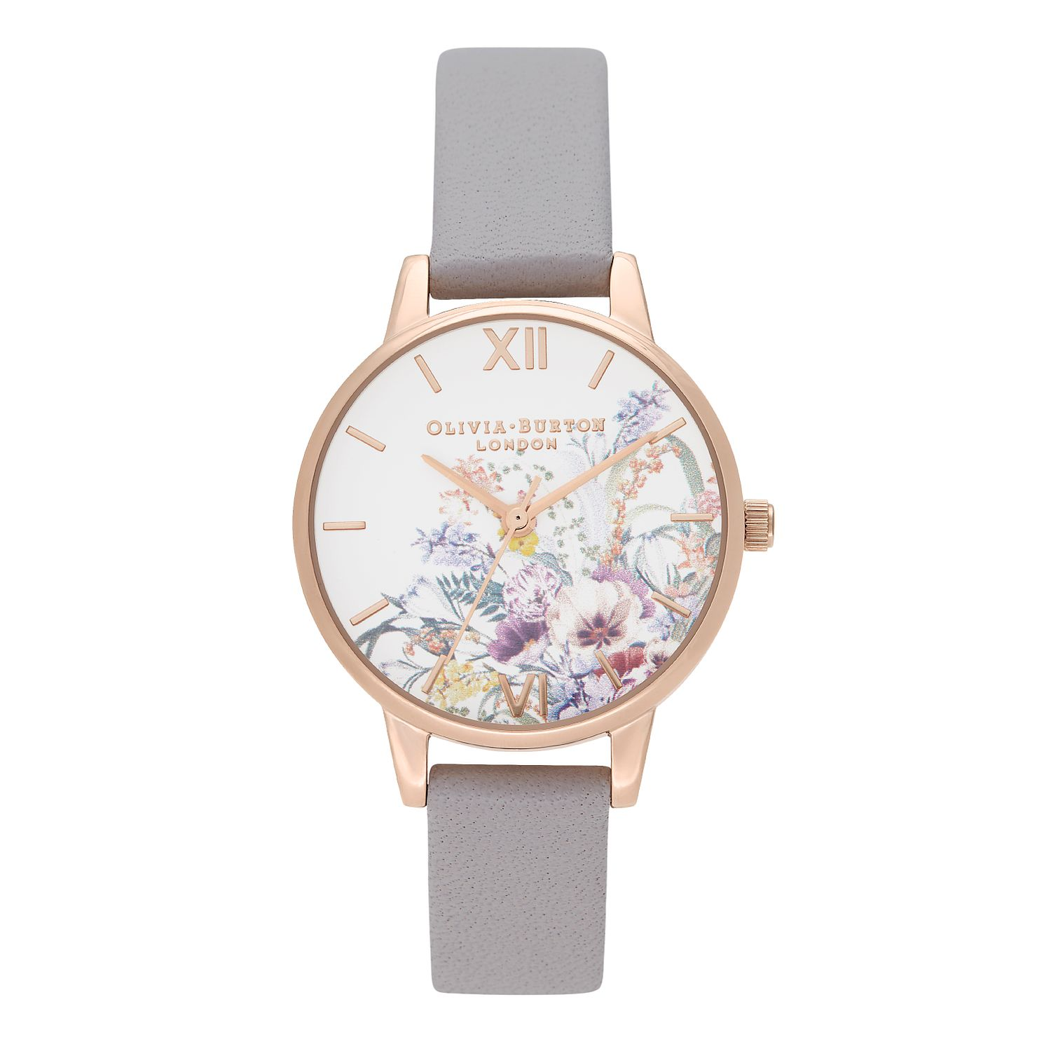 Olivia Burton Enchanted Garden Lilac Leather Strap Watch - Product number 2581639