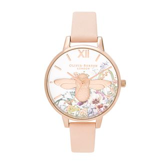 Olivia Burton Enchanted Garden Pink Leather Strap Watch - Product number 2581647