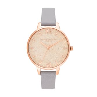 Olivia Burton Glitter Bee Ladies' Grey Leather Strap Watch - Product number 2581701