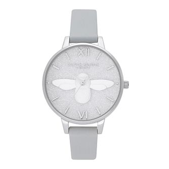 Olivia Burton Glitter 3D Bee Eco-Friendly Grey Strap Watch - Product number 2581736