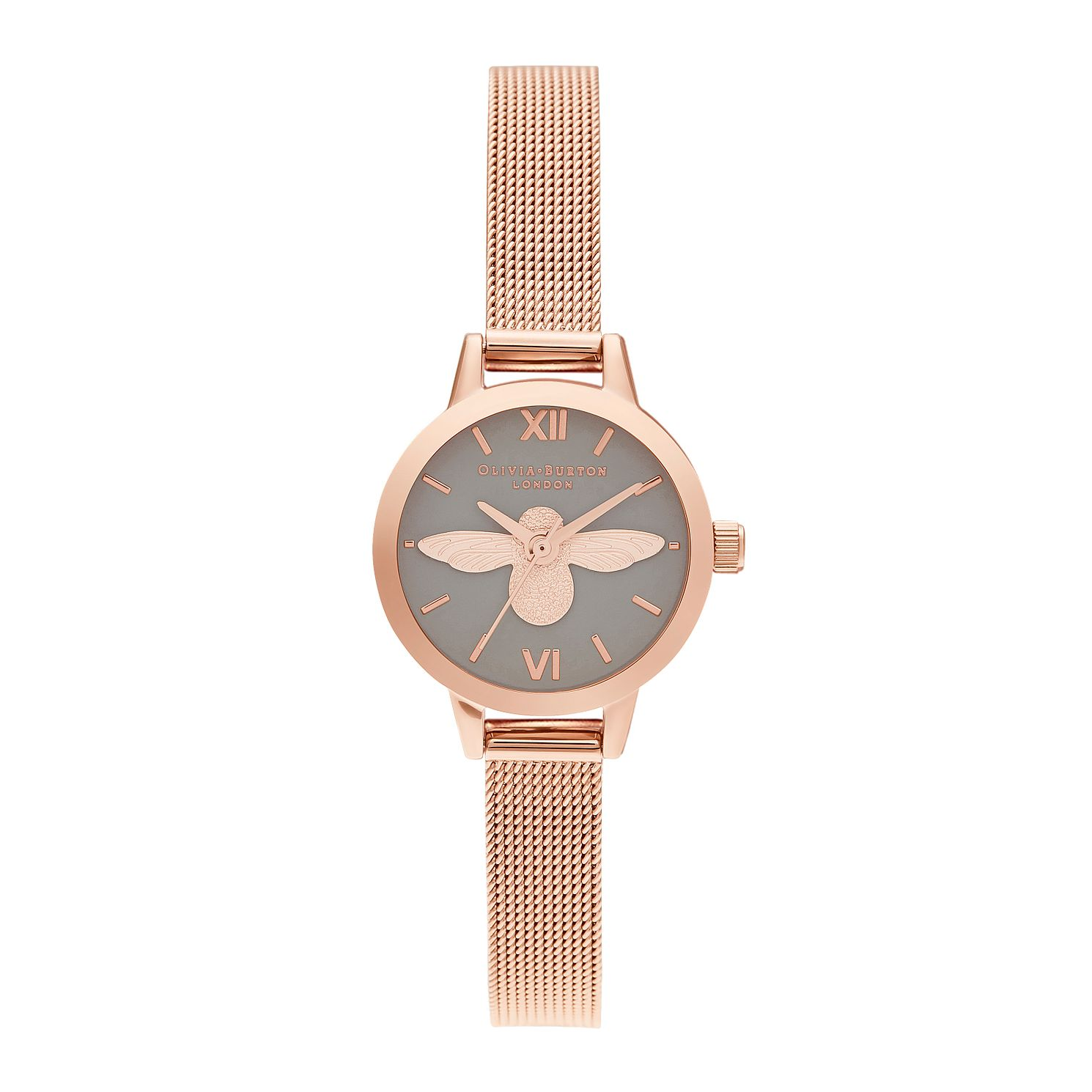 Olivia Burton 3D Bee Rose Gold Tone Mesh Bracelet Watch - Product number 2581760