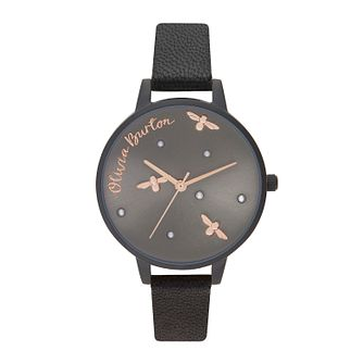 Olivia Burton Pearly Queen Ladies' Black Leather Strap Watch - Product number 2581787