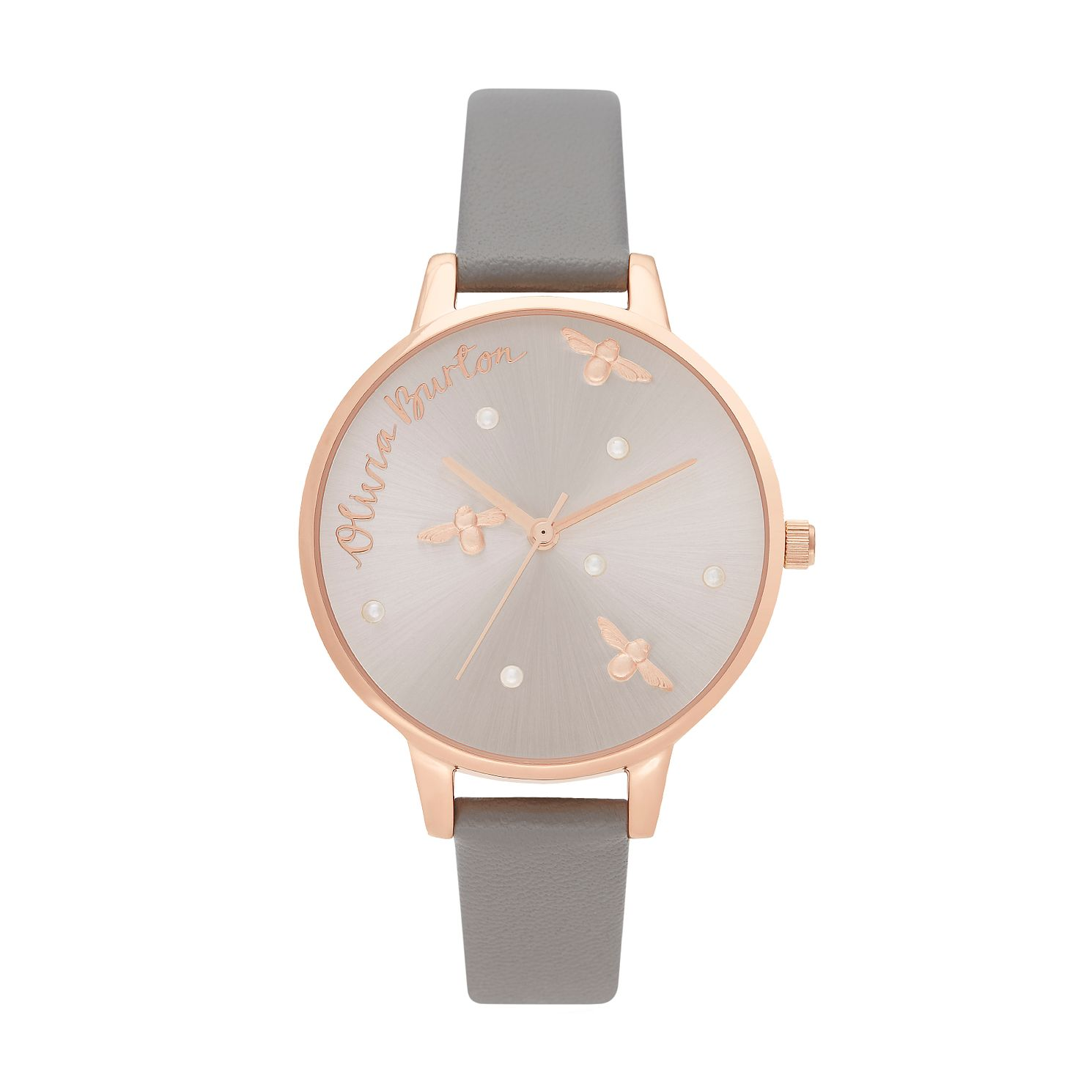 Olivia Burton Pearly Queen Ladies' Grey Vegan Strap Watch - Product number 2581817