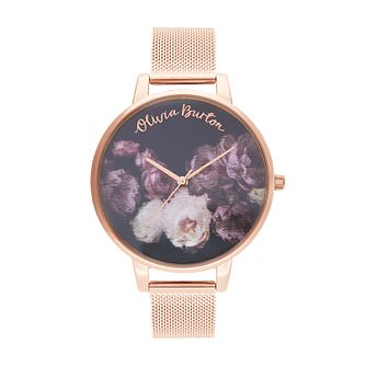 Olivia Burton Fine Art Rose Gold Tone Mesh Bracelet Watch - Product number 2581892