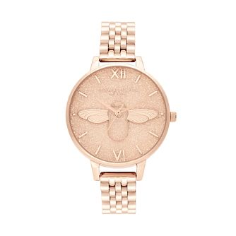 Olivia Burton Glitter 3D Bee Rose Gold Tone Bracelet Watch - Product number 2581914