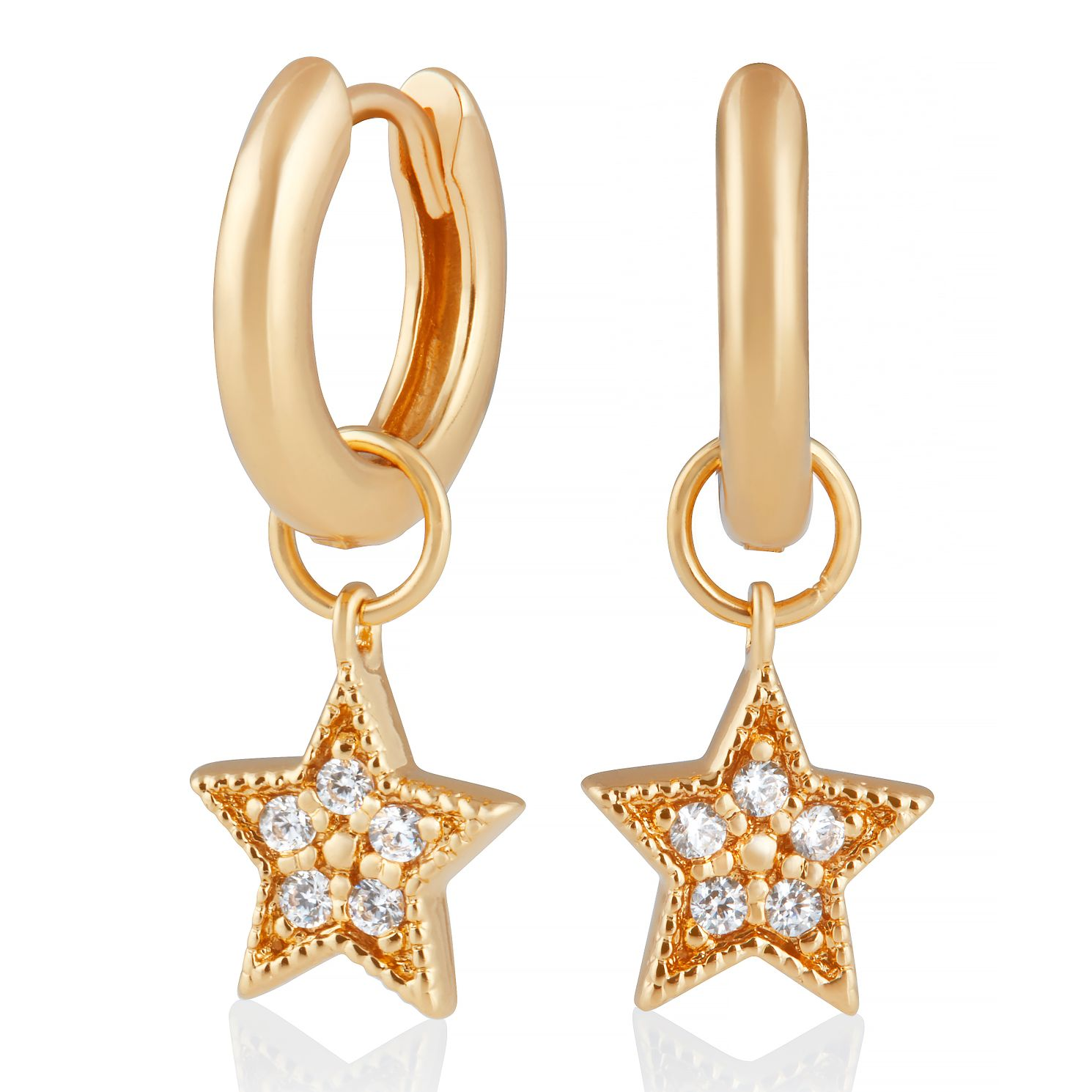 Olivia Burton Gold Plated Silver Star Charm Huggie Earrings - Product number 2582104