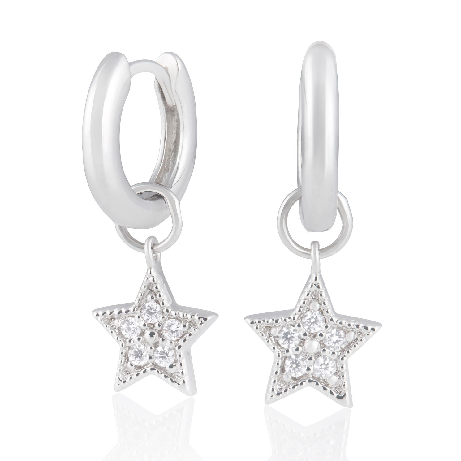 Olivia Burton Sterling Silver Star Charm Huggie Earrings - Product number 2582112