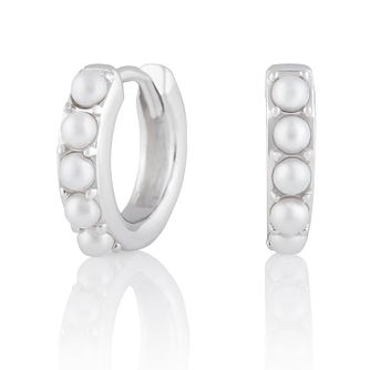 Olivia Burton Silver Faux Pearl Huggie Hoop Earrings - Product number 2582139