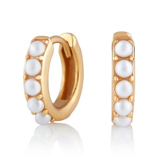 Olivia Burton Gold Plated Silver Faux Pearl Huggie Earrings - Product number 2582244