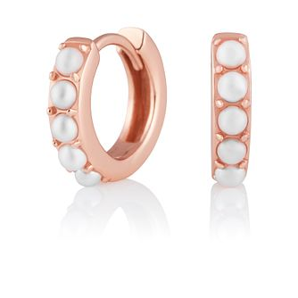 Olivia Burton RoseGold Plate Silver Faux Pearl Hoop Earrings - Product number 2582252
