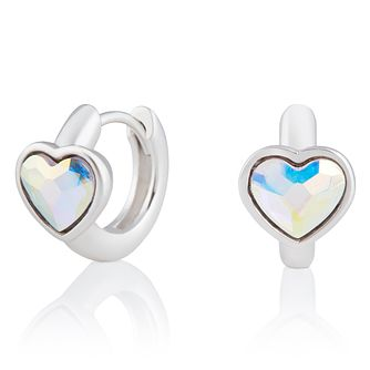 Olivia Burton Silver Heart Crystal Huggie Hoop Earrings - Product number 2582287