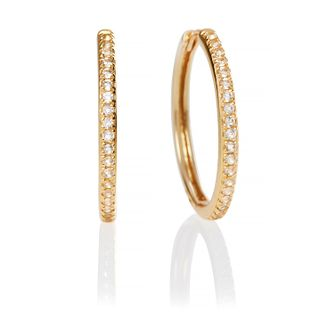 Olivia Burton Yellow Gold Tone Cubic Zirconia Hoop Earrings - Product number 2582317