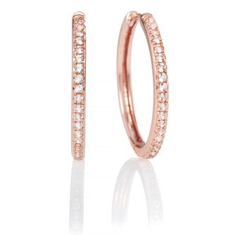 Olivia Burton Rose Gold Tone Cubic Zirconia Hoop Earrings - Product number 2582325
