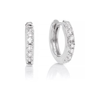 Olivia Burton Silver White Topaz Huggie Hoop Earrings - Product number 2582376