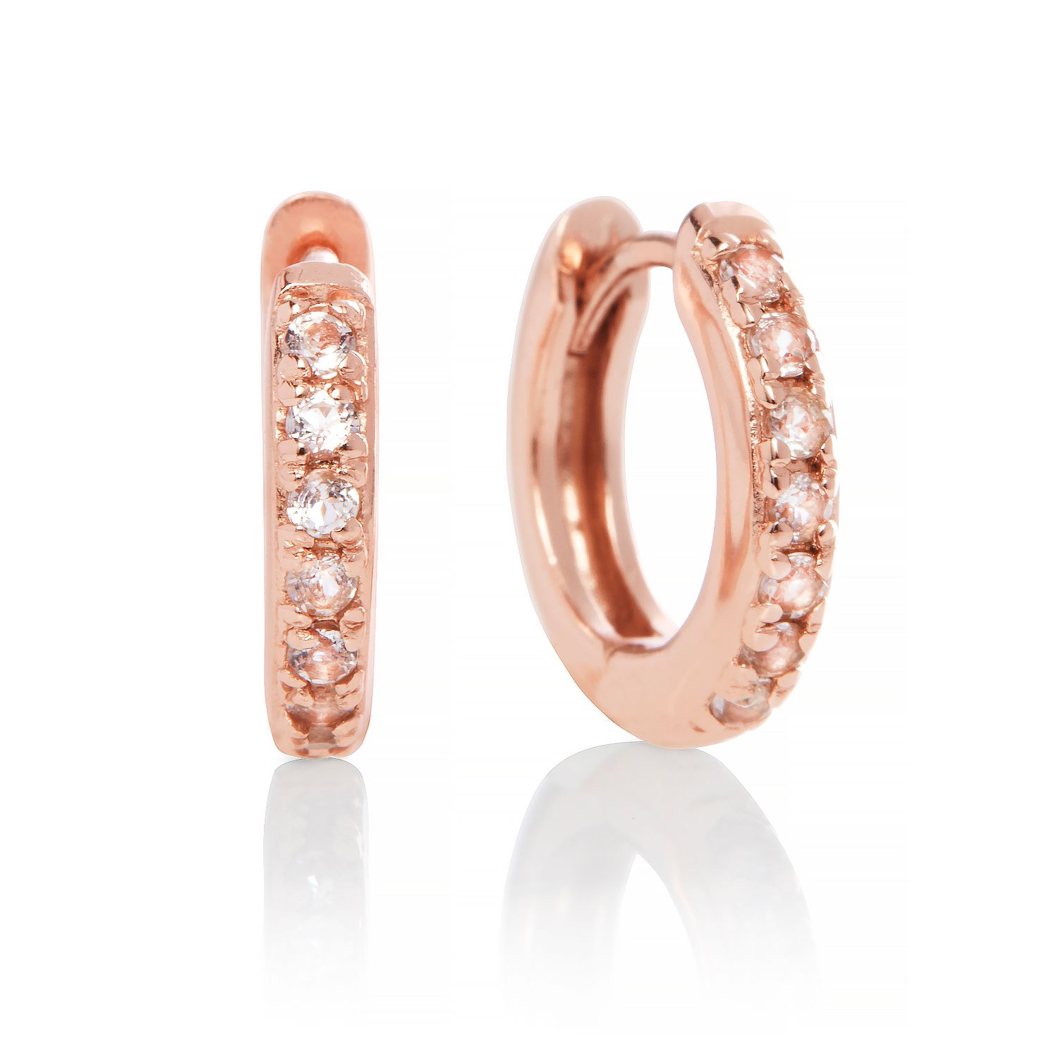 Olivia Burton Rose Gold Plated Silver Topaz Huggie Earrings - Product number 2582406