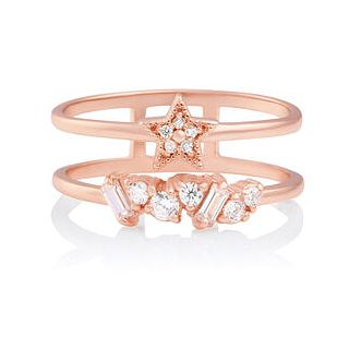 Olivia Burton Celestial Crystal Rose Gold Tone Ring - Size L - Product number 2582511