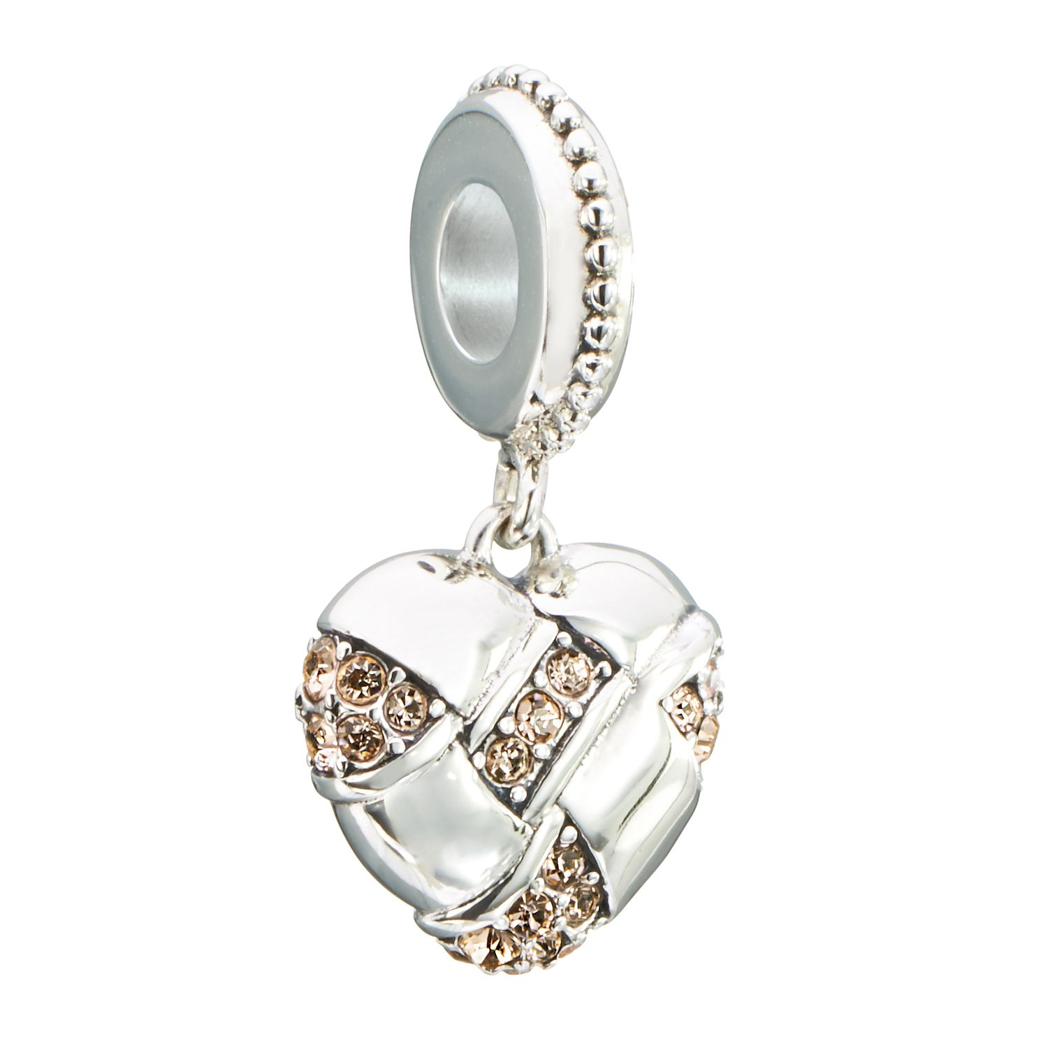Chamilia pave woven heart bead with light peach Swarovski - Product number 2583518