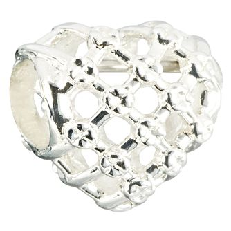 Chamilia woven heart bead in bright silver - Product number 2583526