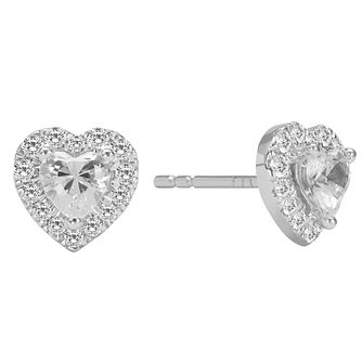 18ct White Gold 1/2ct Diamond Heart Stud Earrings - Product number 2599961