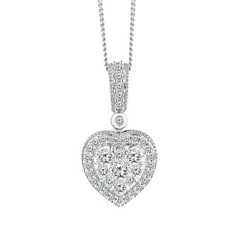 9ct White Gold 1/3ct Diamond Heart Pendant - Product number 2599988