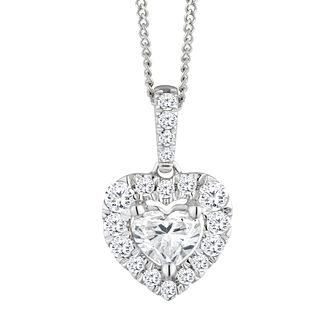 18ct White Gold 1/2ct Diamond Heart Pendant - Product number 2599996