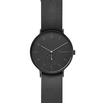 Skagen Aaren Men's Black Leather Strap Watch - Product number 2600064