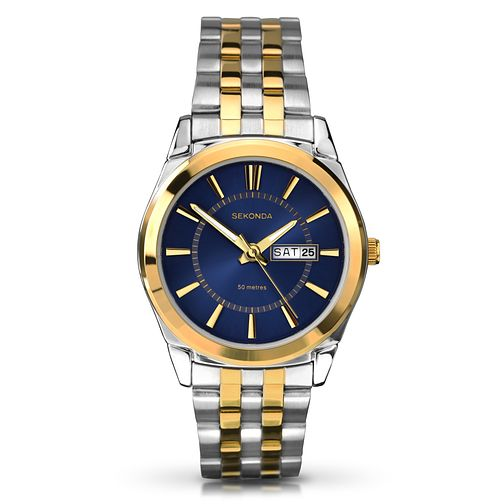 Sekonda Men's Blue Dial & Two Tone Bracelet Watch - Product number 2600404