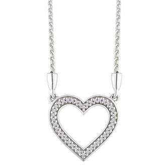 Sterling Silver Diamond Heart Necklace - Product number 2600463