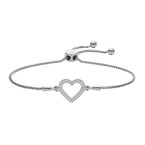 Sterling Silver Diamond Heart Adjustable Bracelet - Product number 2600471