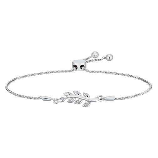 Sterling Silver Diamond Leaf Adjustable Bracelet - Product number 2600609