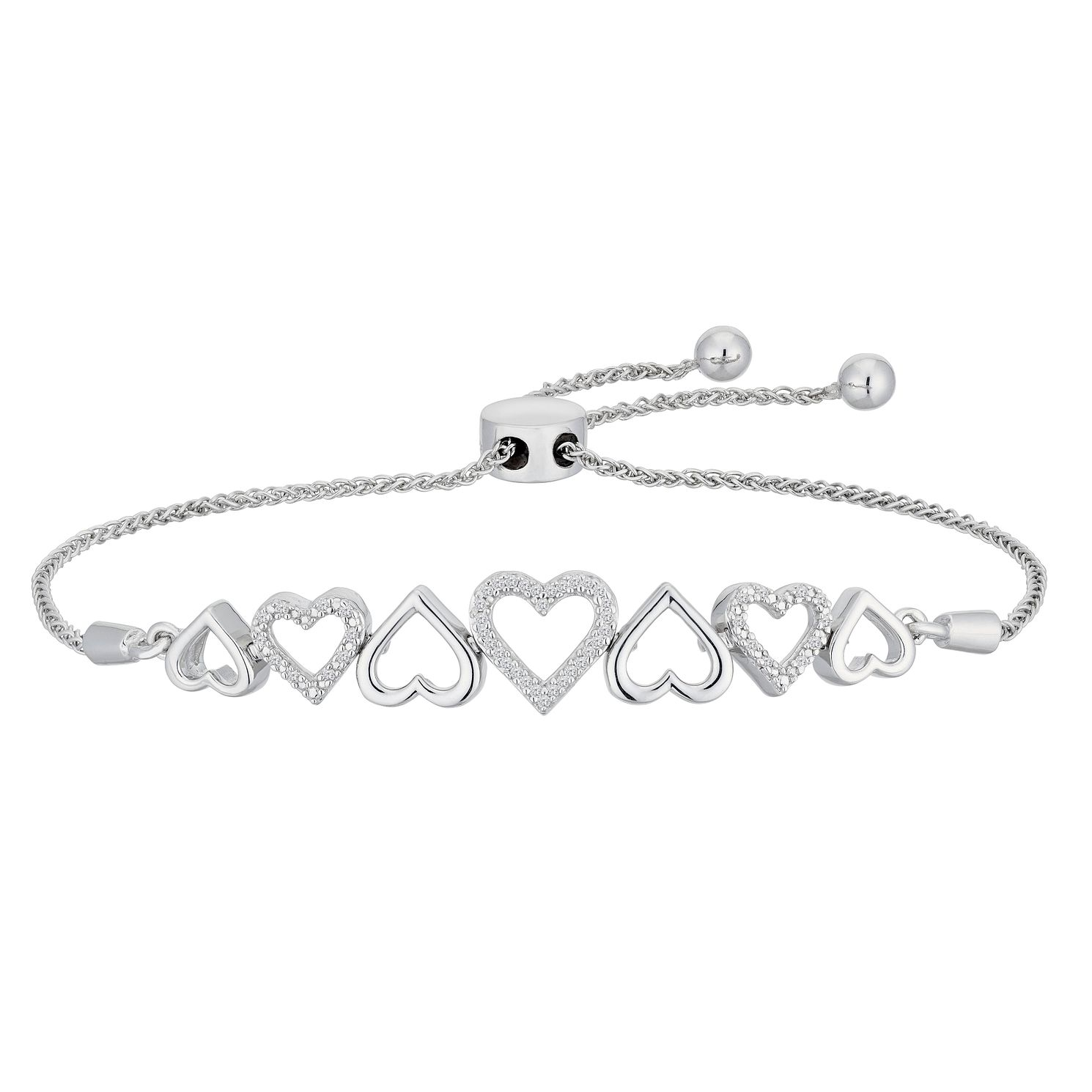 Sterling Silver Diamond Heart Adjustable Bracelet - Product number 2600617