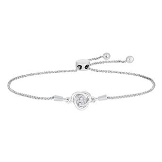 Sterling Silver Diamond Knot Adjustable Bracelet - Product number 2600625
