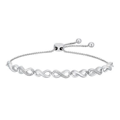 Sterling Silver Diamond Infinity Adjustable Bracelet - Product number 2600633