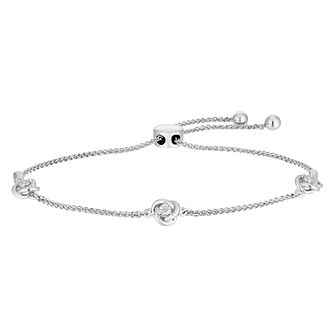 Sterling Silver Diamond Trio Knot Adjustable Bracelet - Product number 2600641
