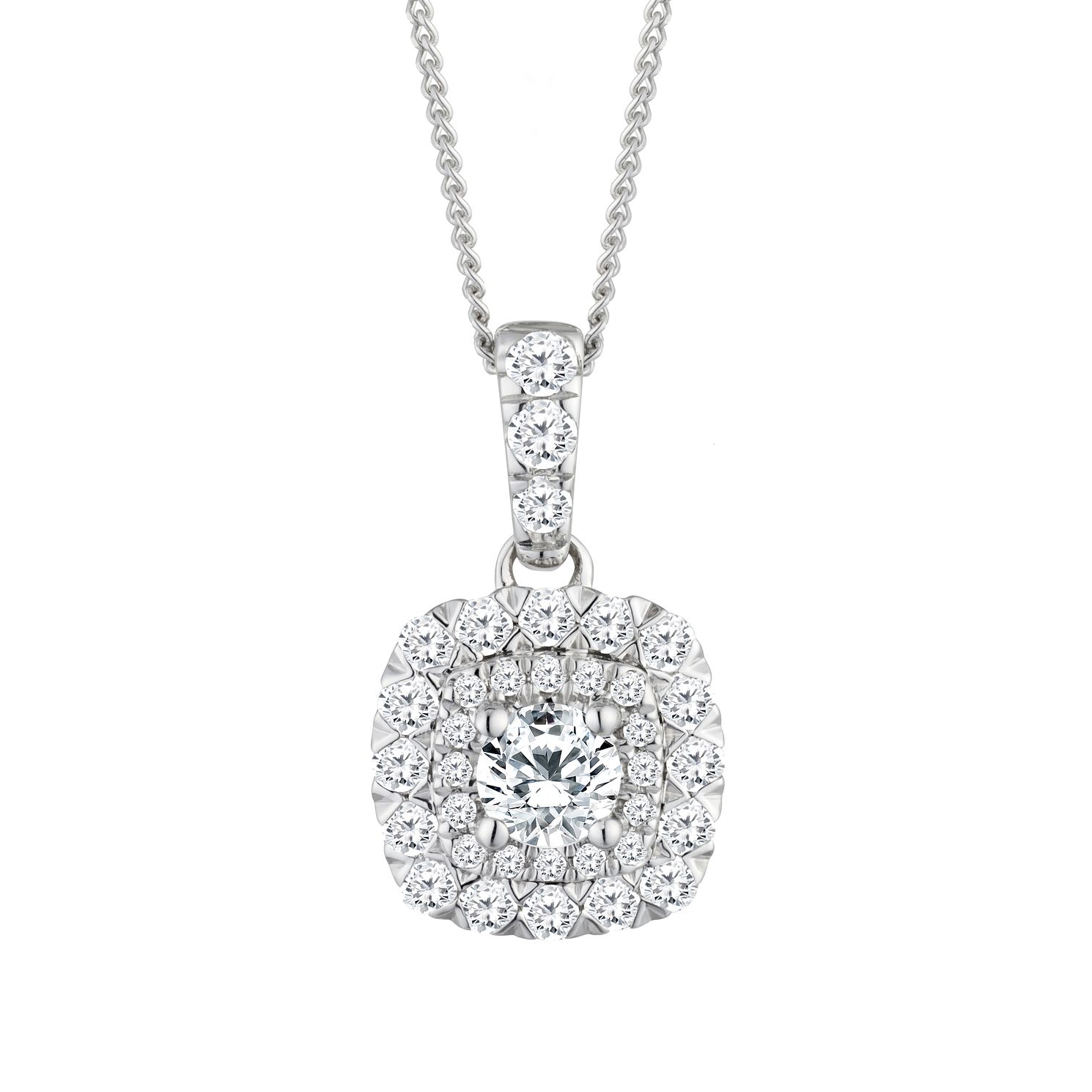 9ct White Gold 0.50ct Total Diamond Pendant - Product number 2601133