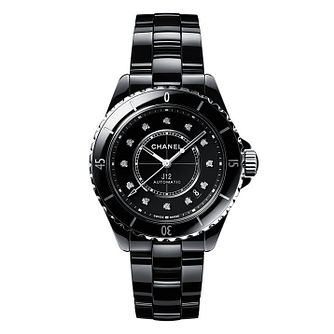 Chanel J12 Diamonds Ladies' Black Ceramic Bracelet Watch - Product number 2602334