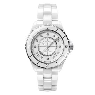Chanel J12 Diamonds Ladies' White Ceramic Bracelet Watch - Product number 2602350