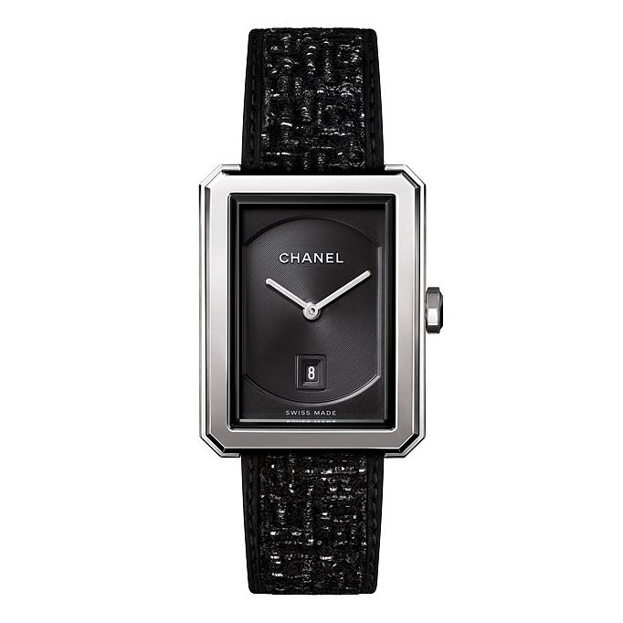 Chanel Boy-Friend Tweed Ladies' Black & Silver Strap Watch - Product number 2602393