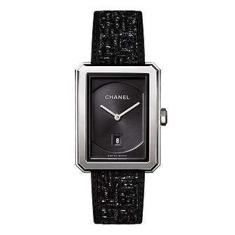 Chanel Boy-Friend Tweed Ladies' Black Leather Strap Watch - Product number 2602393