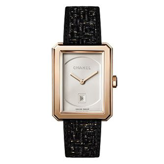 Chanel Boy-Friend Tweed Ladies' Black & Golden Strap Watch - Product number 2602407