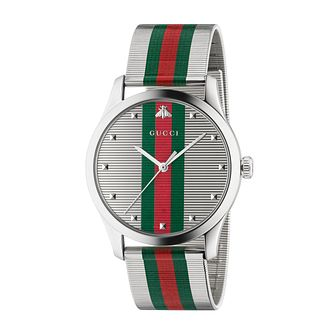 Gucci G-Timeless Striped Stainless Steel Mesh Bracelet Watch - Product number 2605139