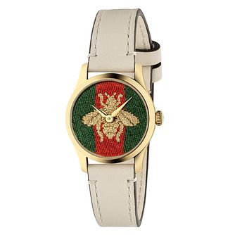 Gucci G-Timeless Contemporary Bee White Leather Strap Watch - Product number 2605201