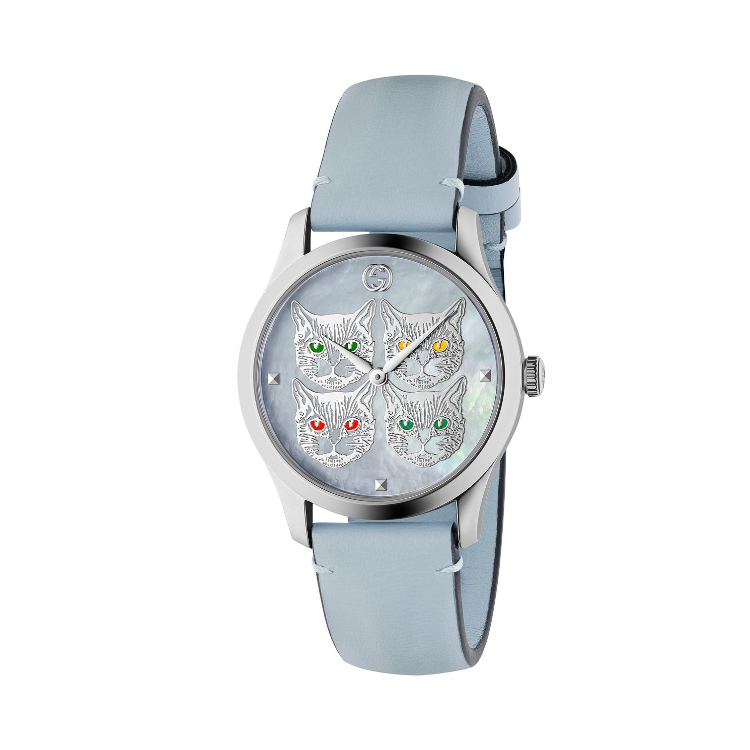 Gucci G-Timeless Contemporary Cat Blue Leather Strap Watch - Product number 2605228