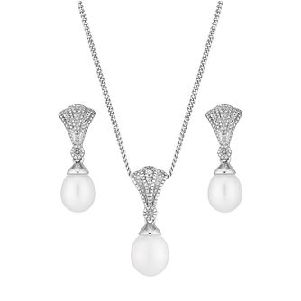 Silver Pearl & Diamond Fan Drop Earring & Pendant Set - Product number 2605791