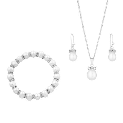 Pearl and Crystal Drop Earring Pendant & Bracelet Set - Product number 2605910