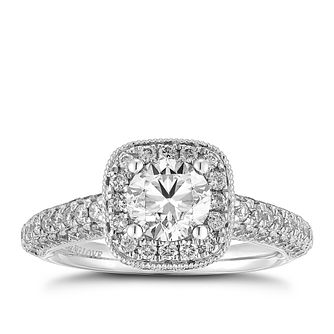 Vera Wang 18ct White Gold 1.70ct Total Diamond Halo Ring - Product number 2606380