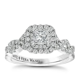 Vera Wang 18ct White Gold 0.95ct Total Diamond Halo Ring - Product number 2606658