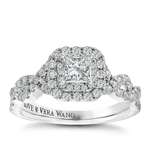 Vera Wang 18ct white gold 0.95ct diamond double halo ring - Product number 2606658